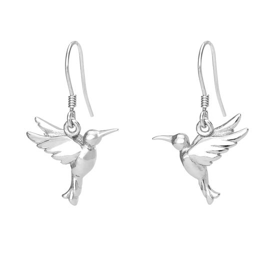 Serre Silver Hummingbird Drop Earrings