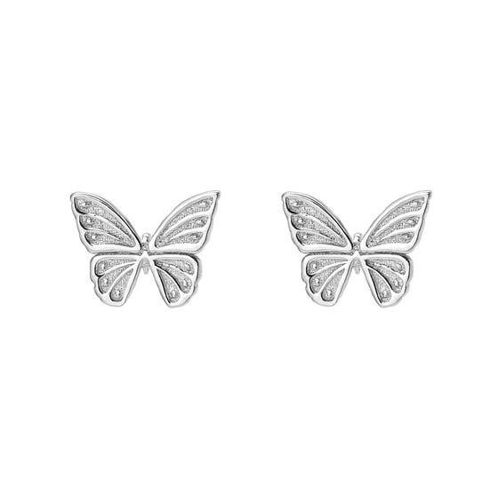 Meadow Silver Beautiful Butterfly Stud Earrings
