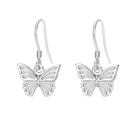Meadow Silver Beautiful Butterfly Drop Earrings