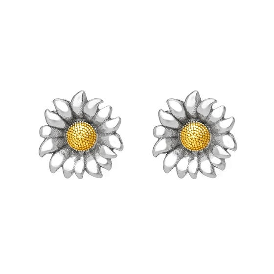 Serre Silver Sunflower Stud Earrings