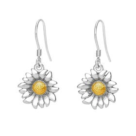 Serre Silver Sunflower Drop Earrings