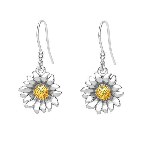 Serre Silver Sunflower Drop Earrings