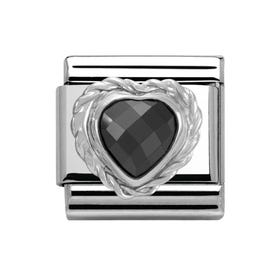 Classic Black faceted CZ Heart Classic Charm