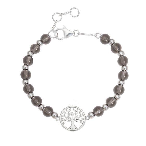 Wald Silver & Quartz Tree of Life Bracelet