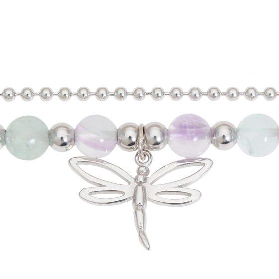 Meadow Silver & Fluorite Dragonfly Bracelet