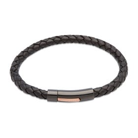 Black Leather Bracelet with Black & Rose Clasp