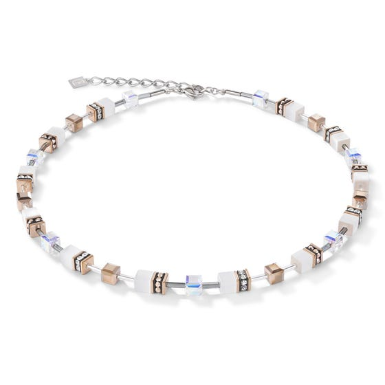 Geo Cube Looking Glass White Necklace