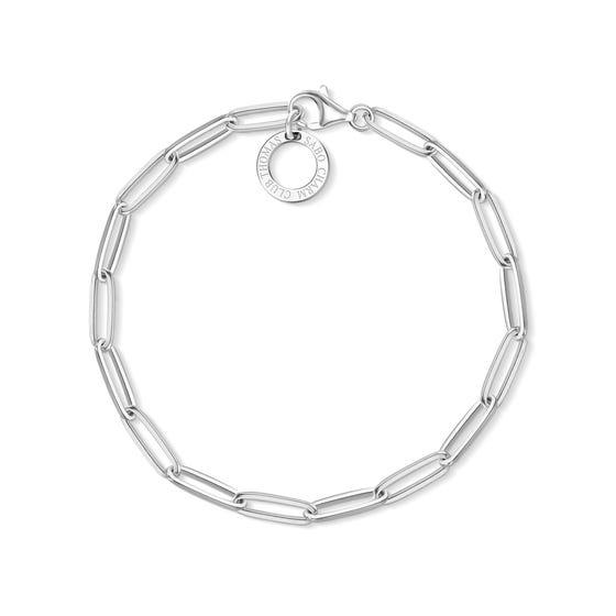 Silver Small Link Charm Club Bracelet