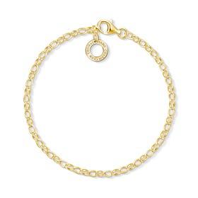 Gold Plated Fine Link Charm Bracelet