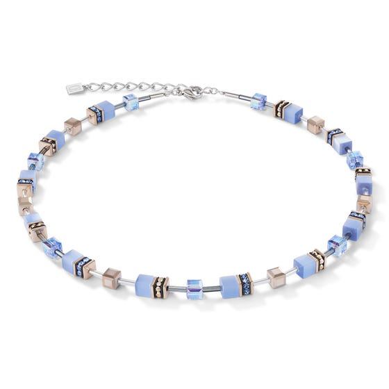 Geo Cube Waterscape Blue Necklace