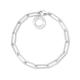 Silver Large Link Charm Club Bracelet