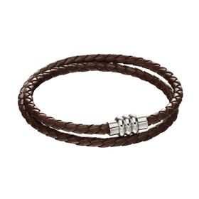 Brown Leather Double Bracelet with Magnetic Steel Clasp