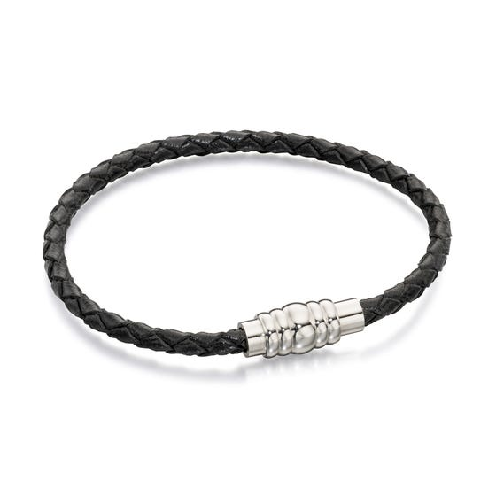 Black Leather Bracelet with Magnetic Steel Clasp