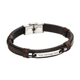 Stainless Steel Woven Leather ID Bracelet