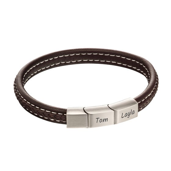 Brown Leather Plaited Bracelet with Brushed Steel Clasp