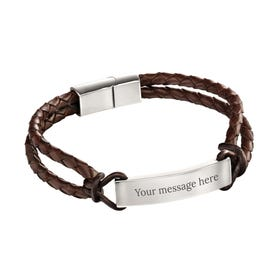 Stainless Steel Brown Leather Rope Detail ID Bracelet