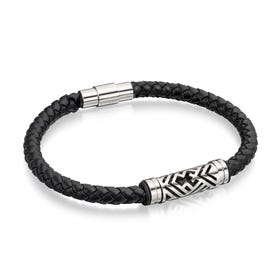 Stainless Steel Black Leather Aztec Bracelet