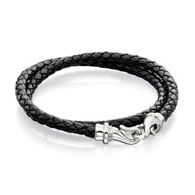 Stainless Steel Black Leather Wrap Around Bracelet