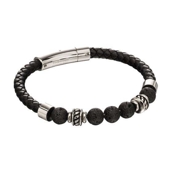 Stainless Steel Black Leather and Lava Bead Bracelet