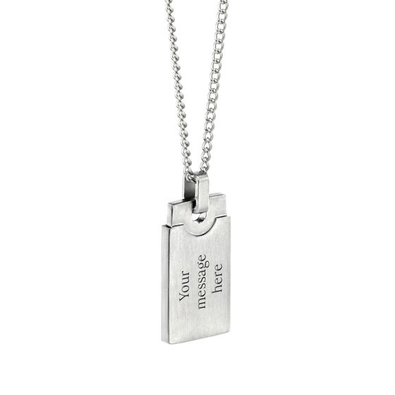 Stainless Steel Brushed Rectangle Necklace