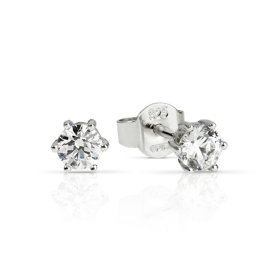 Silver Zirconia 0.5ct Solitaire Earrings