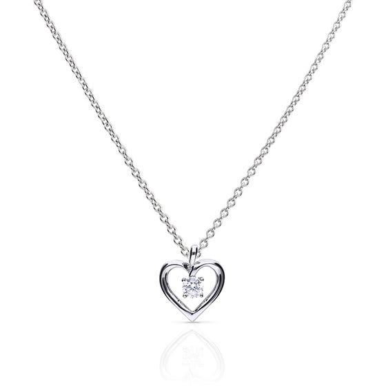 Silver Zirconia Open Heart Necklace