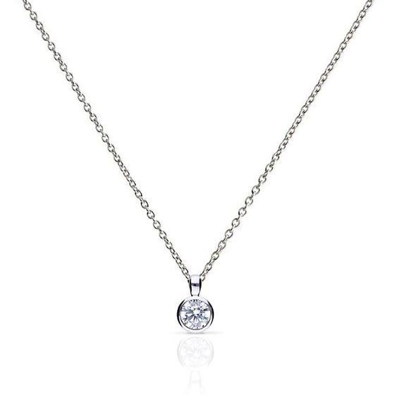 Silver Zirconia 0.5ct Solitaire Bezel Set Necklace