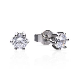 Silver Zirconia 1ct Solitaire Earrings