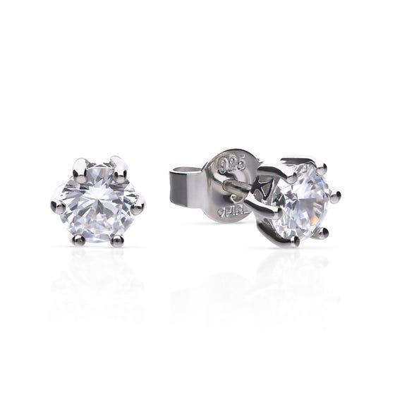 Silver Zirconia 1ct Solitaire Earrings