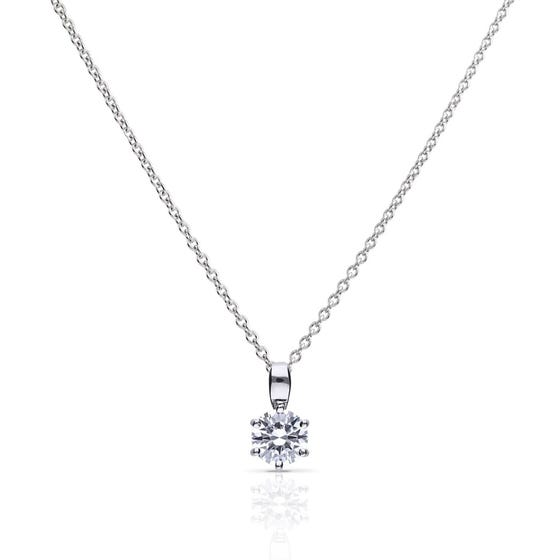 Silver Zirconia 1ct Solitaire Necklace