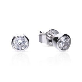 Silver Zirconia 0.5ct Solitaire Bezel Set Earrings