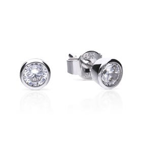 Silver Zirconia 0.5ct Solitaire Bezel Set Earrings