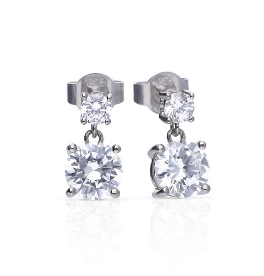 Silver Zirconia Classical Drop Earrings