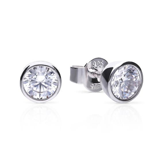 Silver Zirconia 1ct Solitaire Bezel Set Earrings