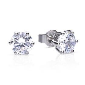 Silver Zirconia 2ct Solitaire Earrings