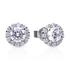 Silver Zirconia Pave Solitaire Earrings
