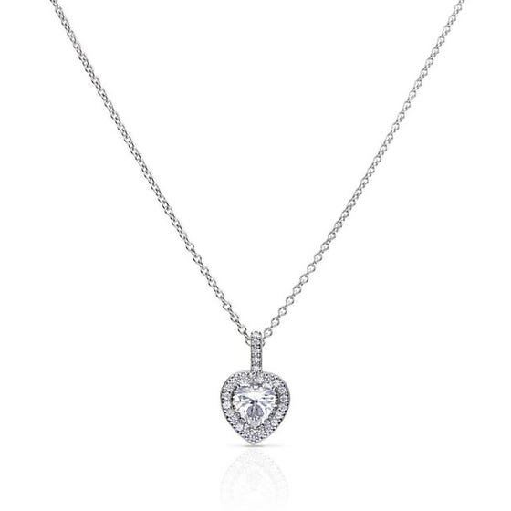 Silver Heart Pave Zirconia Necklace