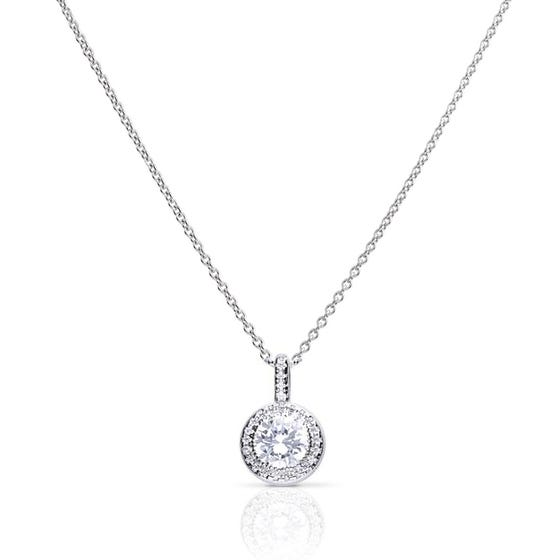 Silver Round Halo Pave Zirconia Necklace