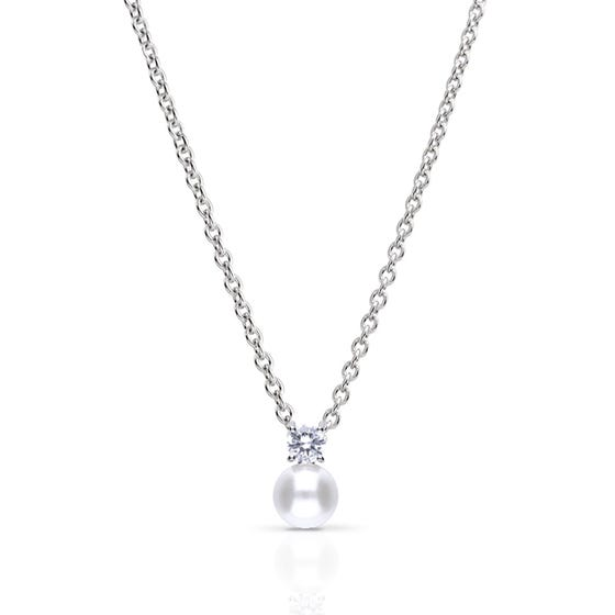 Silver Zirconia & White Shell Pearl Round Drop Necklace