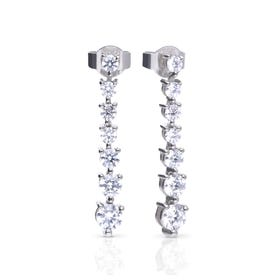 Silver Zirconia Graduated Drop Earrings