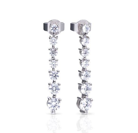 Silver Zirconia Graduated Drop Earrings