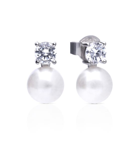 Silver Zirconia & White Shell Pearl Round Drop Earrings