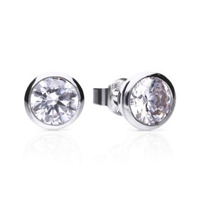 Silver Zirconia 2ct Solitaire Bezel Set Earrings