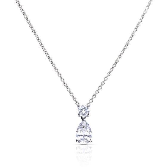 Silver Zirconia Teardrop Necklace