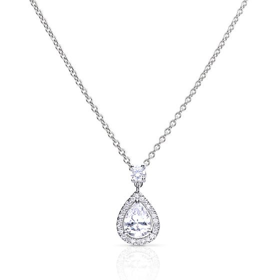 Silver Zirconia Pave Teardrop Necklace