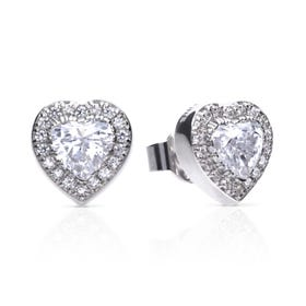Silver Heart Pave Zirconia Stud Earrings