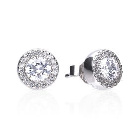 Silver Round Halo Pave Zirconia Stud Earrings