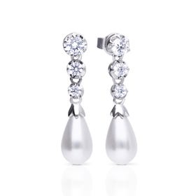 Silver Zirconia & White Shell Pearl Graduated Drop Earrings