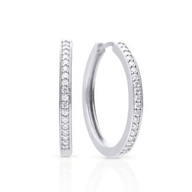 Silver Zirconia Classic Hoop Earrings