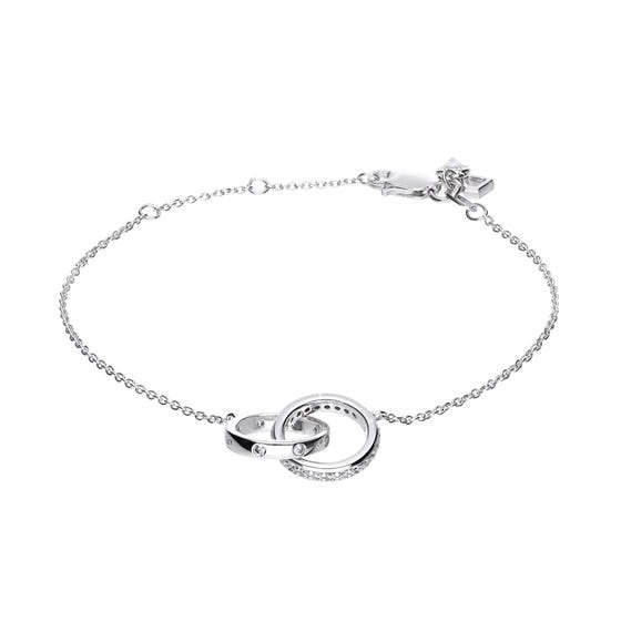 Silver Zirconia Interlocking Circles Bracelet